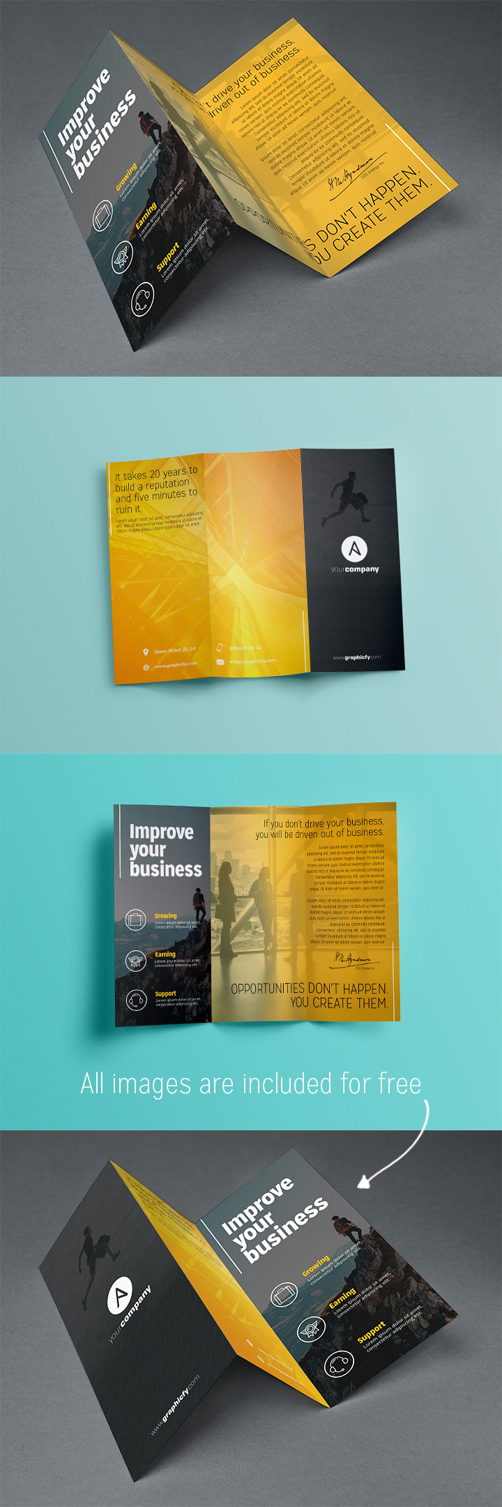 Tri fold brochure template psd brochure templates for Folded brochure template