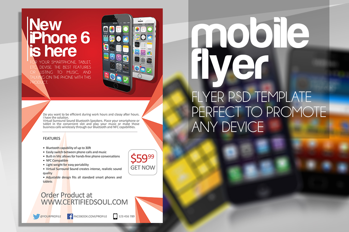 Smartphone flyer template psd flyer designs graphicfy mobile flyer 1 pronofoot35fo Gallery