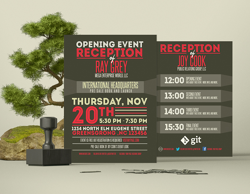 Event Program Template PSD FlyerBrochure Graphicfy - Photoshop wedding program template