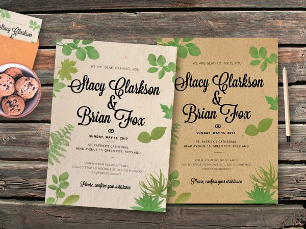Wedding Leaves Invitation Template
