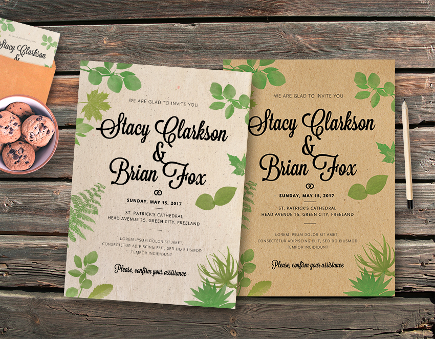 Wedding Leaves Vintage Invitation Template  Graphicfy