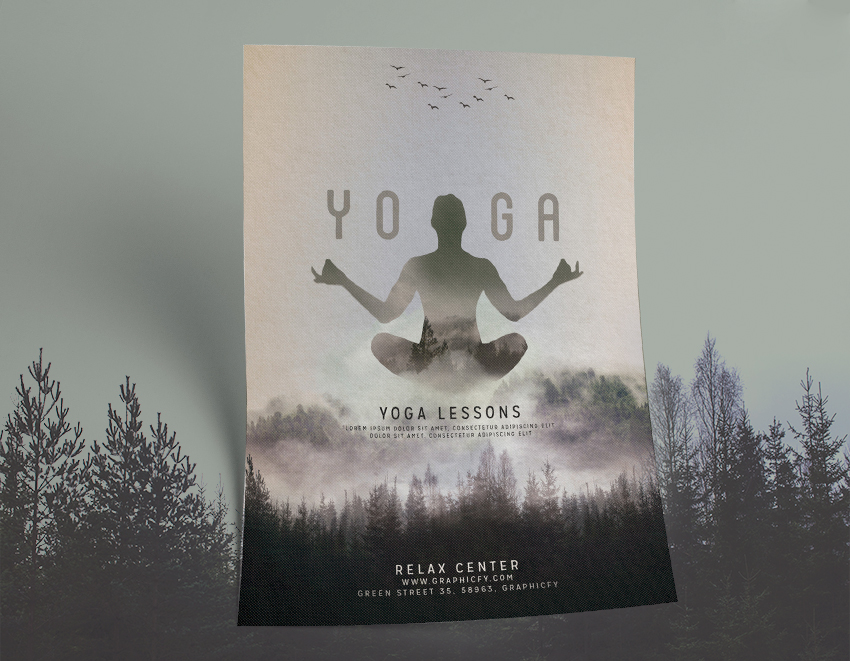 Minimalist Yoga Flyer Template  Awesome Psd Yoga Template  Graphicfy