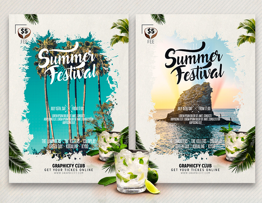 summer party flyer template graphicfy