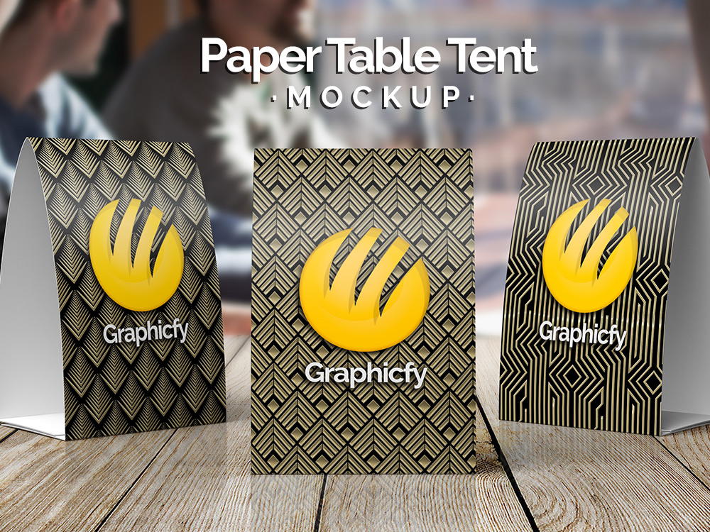 paper table tent mockup vol 10 download psd graphicfy