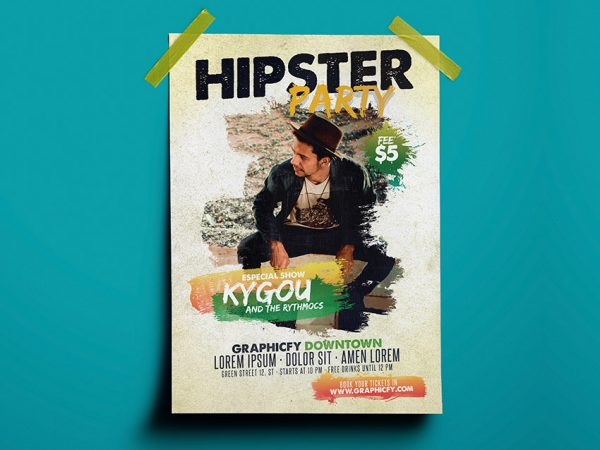 Hipster Party Template PSD
