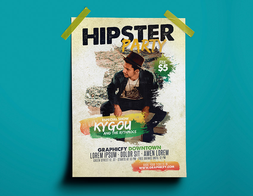 Hipster Party Flyer Template Psd Graphicfy