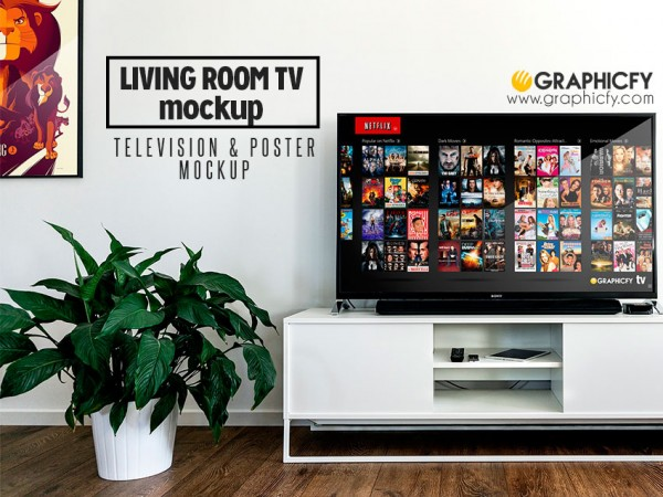 Living Room TV Mockup Template