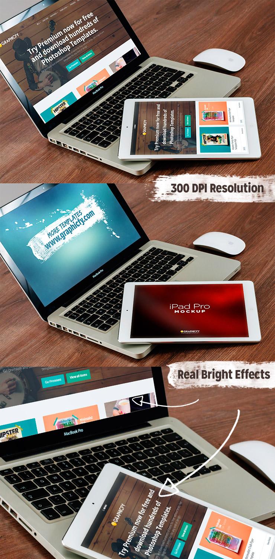 McBook iPad Mockup Template PSD