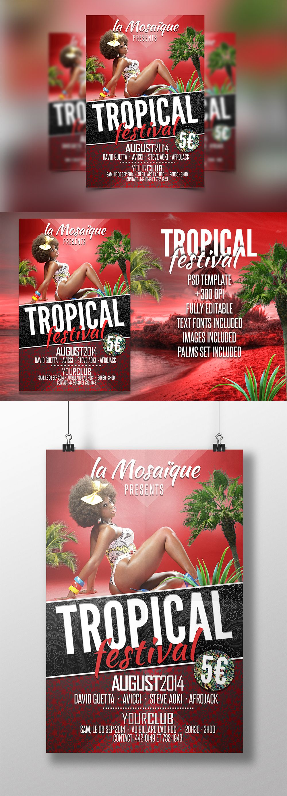Tropical Festival Party Flyer PSD Template