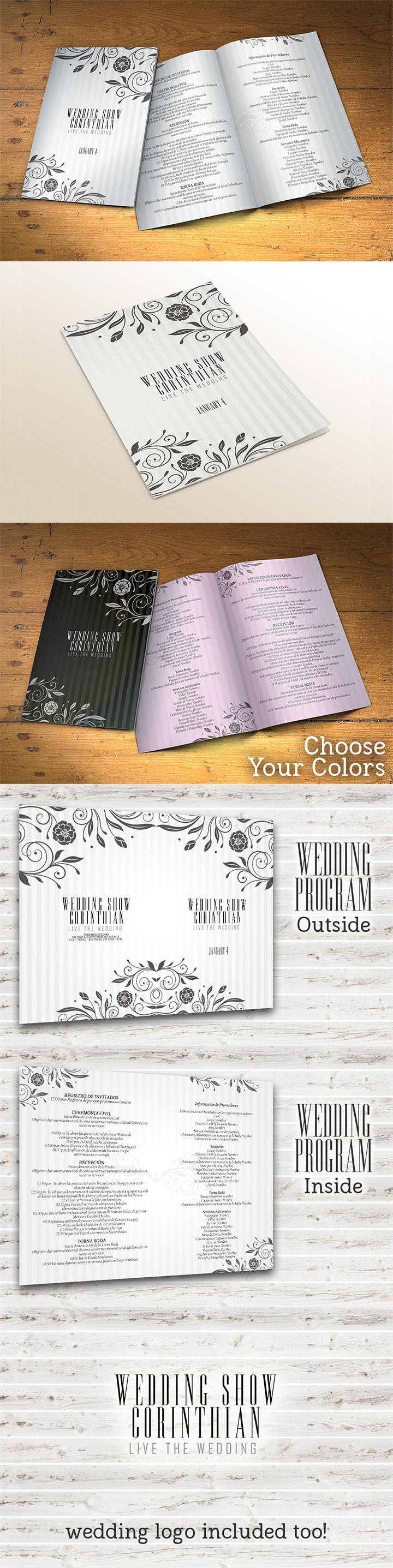 Wedding Program Template PSD 2 Sides