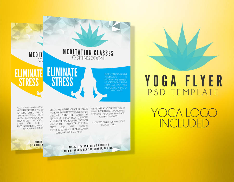 Yoga flyer template psd flyer templates graphicfy for Yoga brochure templates