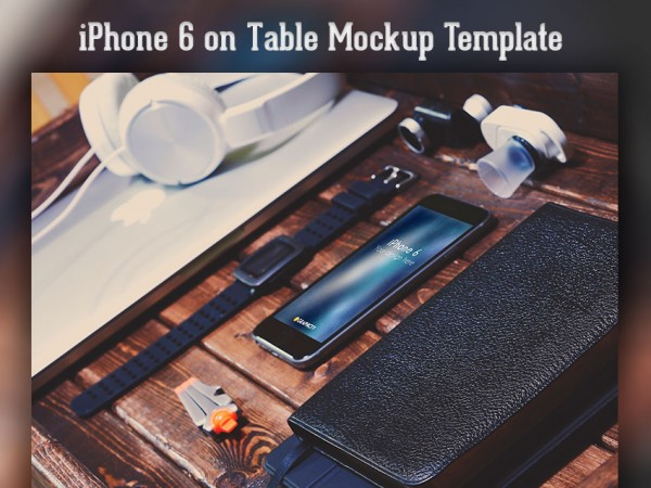iPhone 6 on Table Mockup Template