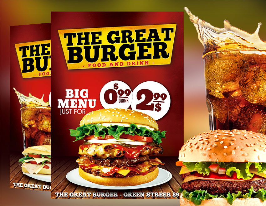 Fast Food Restaurant Flyer Template PSD Download Graphicfy Flyers - Food brochure templates