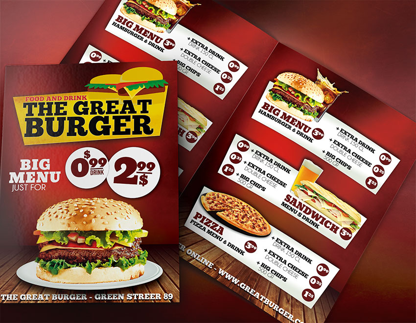 Burger Menu Template Psd  Fast Food Menu Templates  Graphicfy