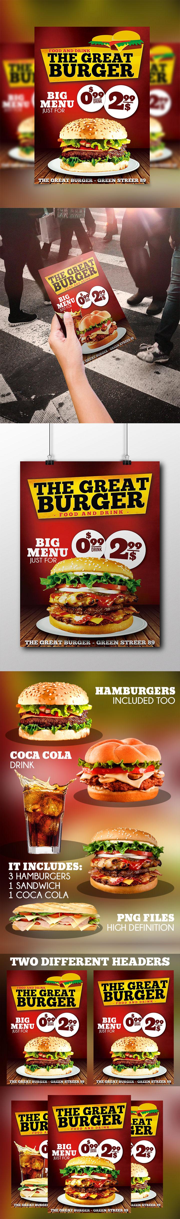 fast food restaurant flyer template psd