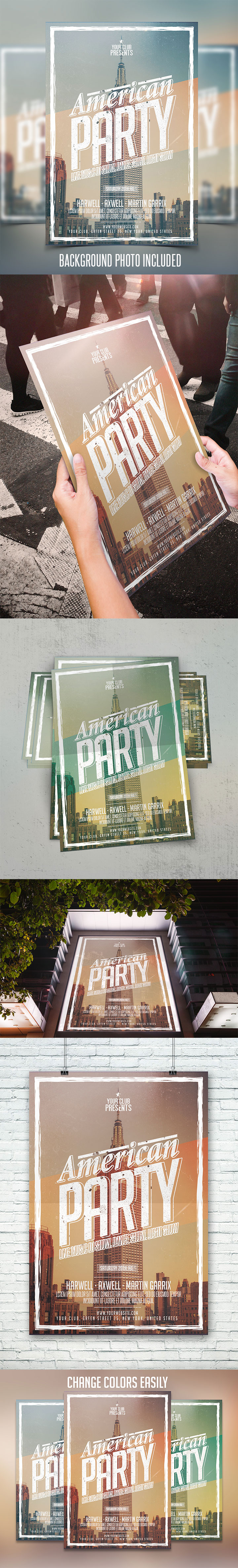 american party flyer psd