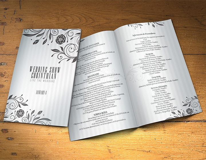 Wedding Program Template PSD 2 Sides - Graphicfy
