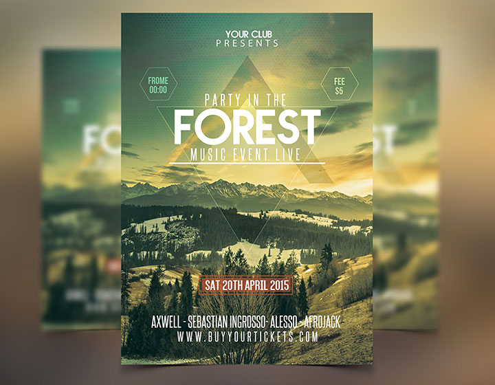 Forest Party Festival Flyer Template Psd  Graphicfy